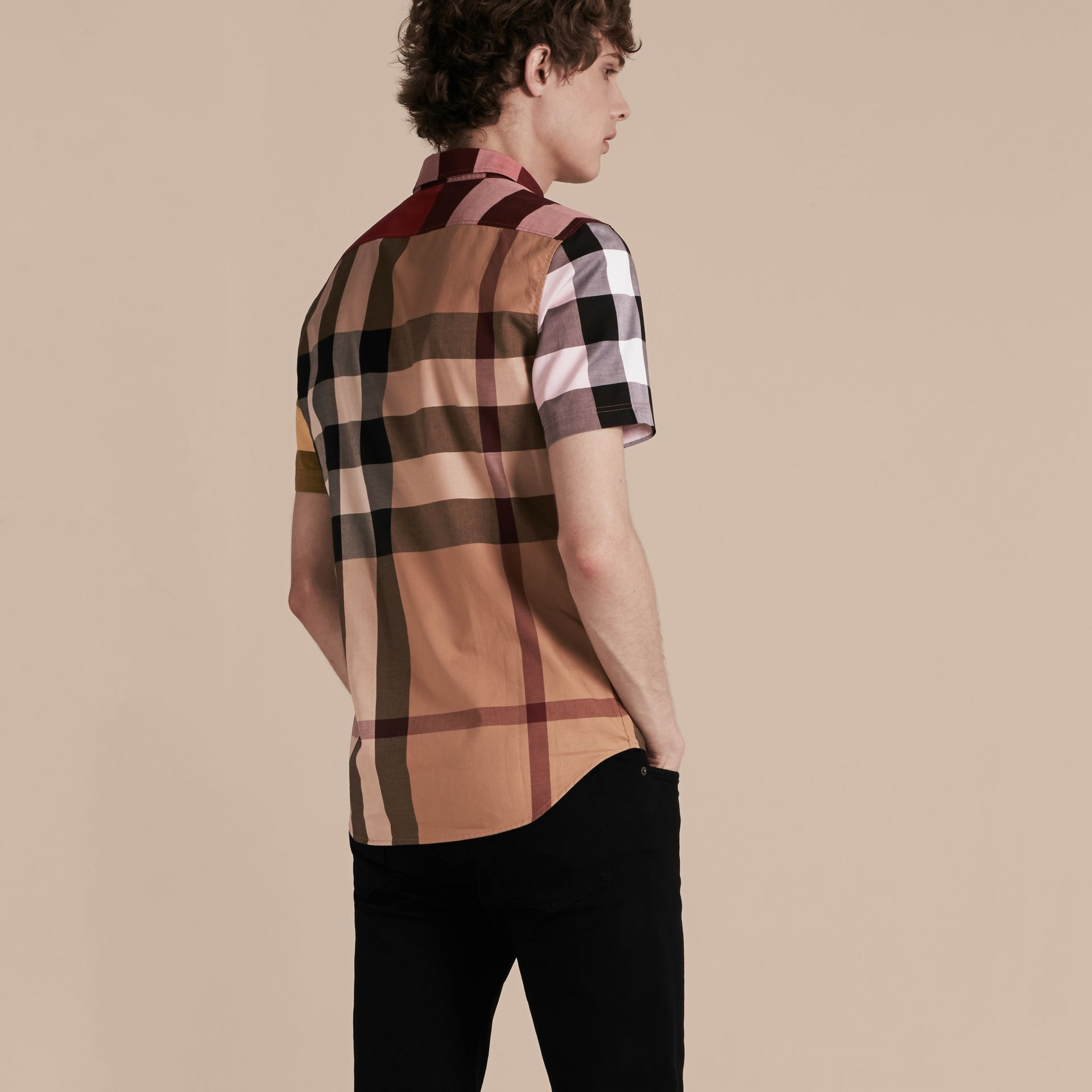 Camel Short-sleeved Colour Block Check Cotton Shirt Camel - gallery image 3