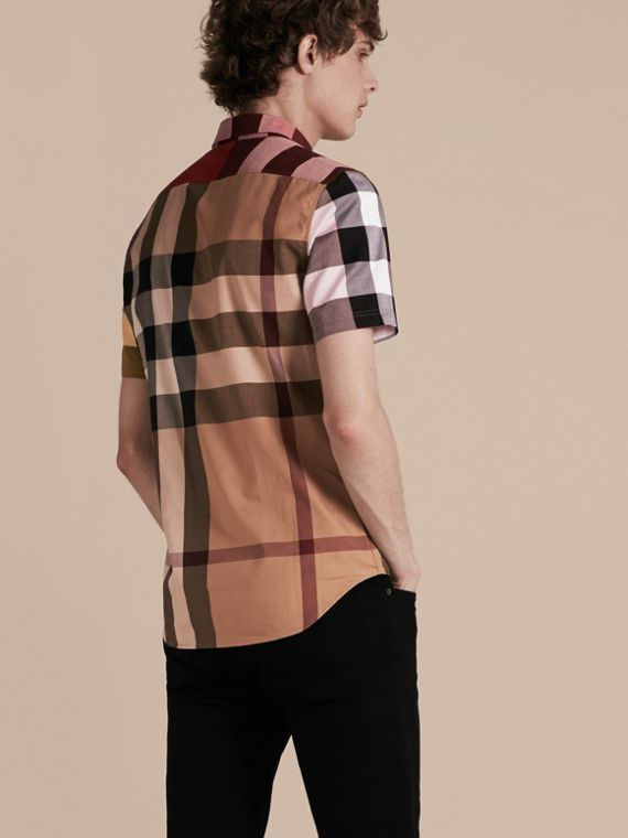 Camel Short-sleeved Colour Block Check Cotton Shirt Camel - cell image 2