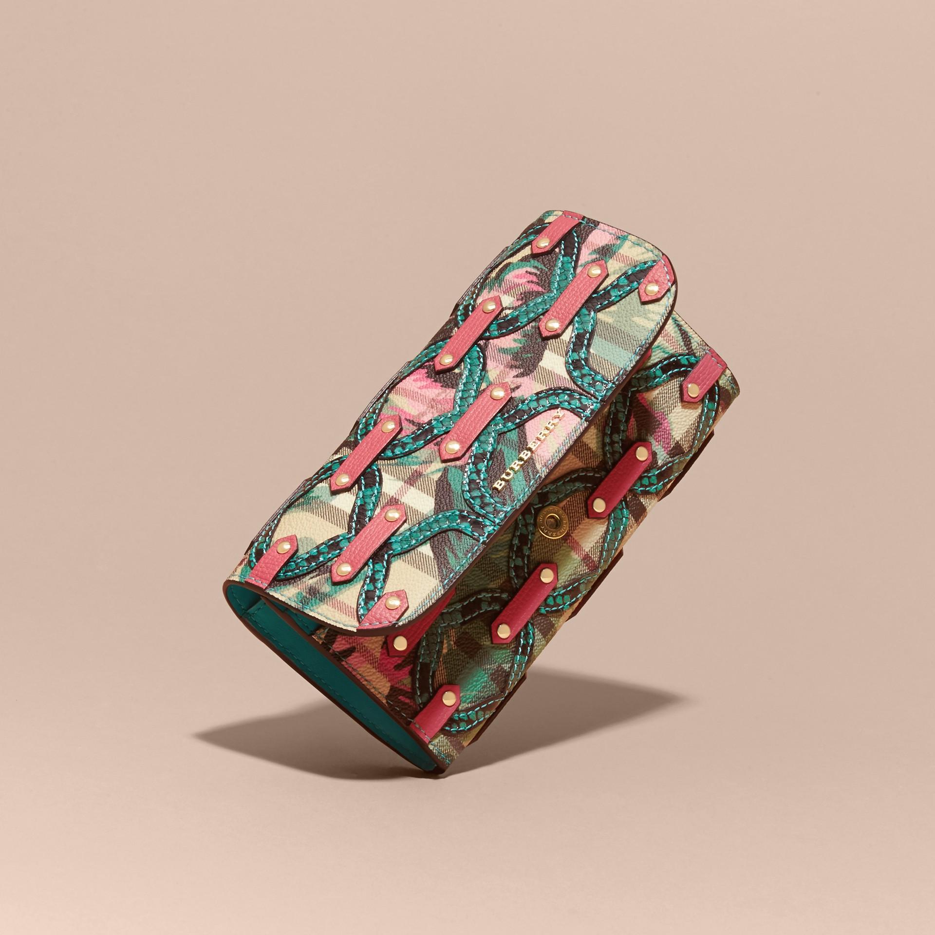 Snakeskin Appliqué Peony Rose Print Haymarket Check Continental Wallet in Plum Pink - gallery image 3