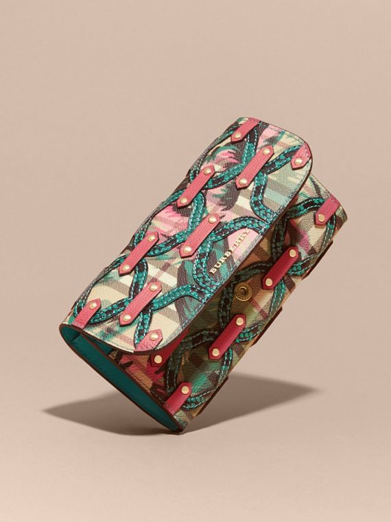 Snakeskin Appliqué Peony Rose Print Haymarket Check Continental Wallet in Plum Pink - cell image 2