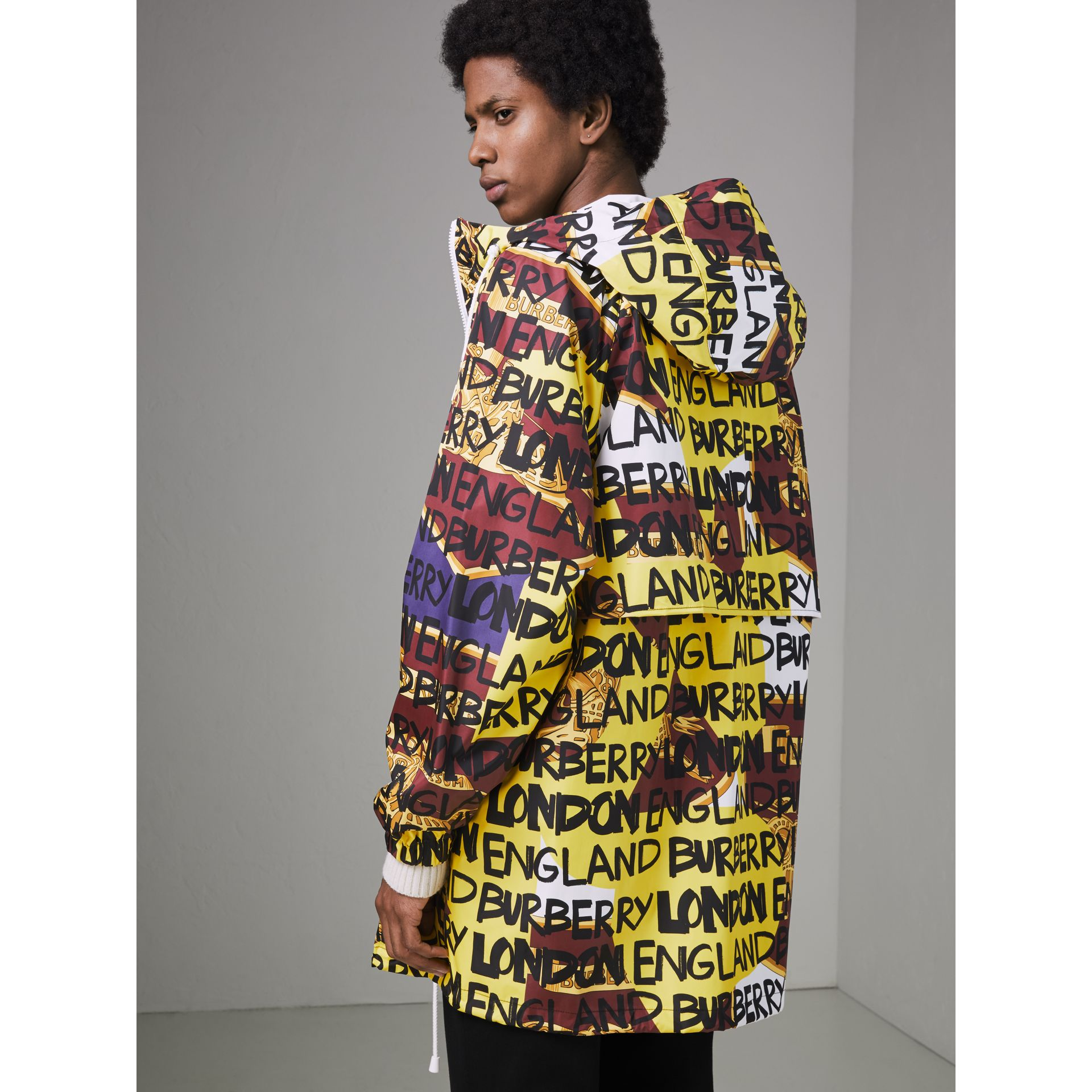Graffiti Archive Scarf Print Hooded Jacket in Bright Yellow - Men | Burberry Australia - gallery image 2