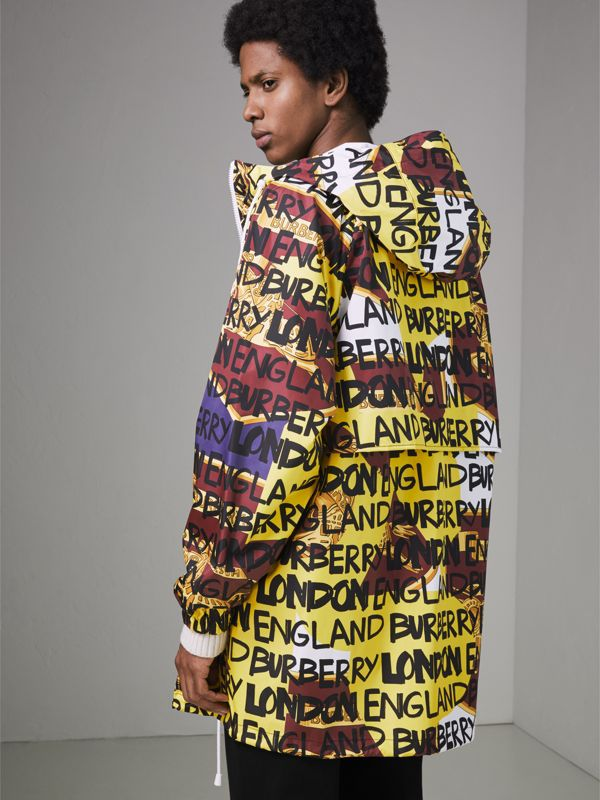Graffiti Archive Scarf Print Hooded Jacket in Bright Yellow - Men | Burberry Hong Kong - cell image 2