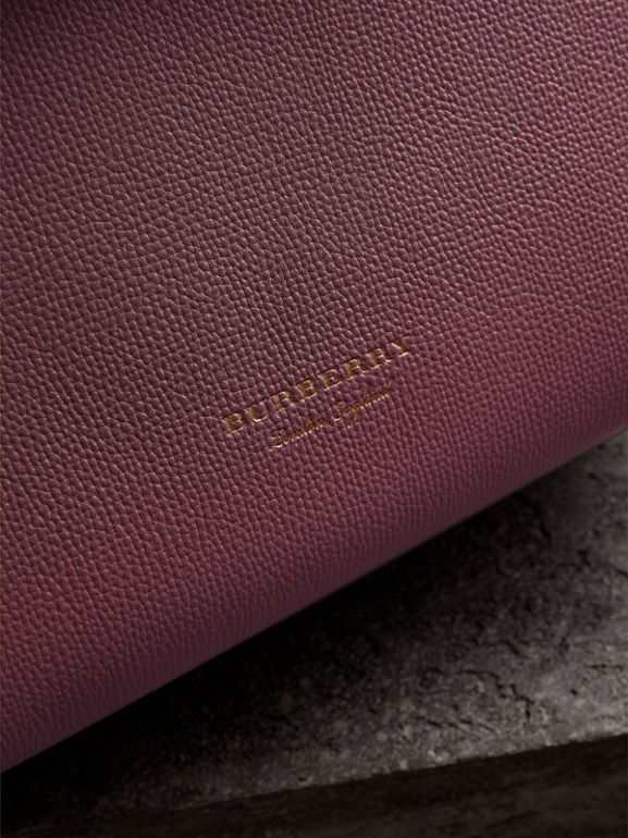 Medium Grainy Leather and House Check Tote Bag in Mahogany Red - Women | Burberry United States - cell image 1
