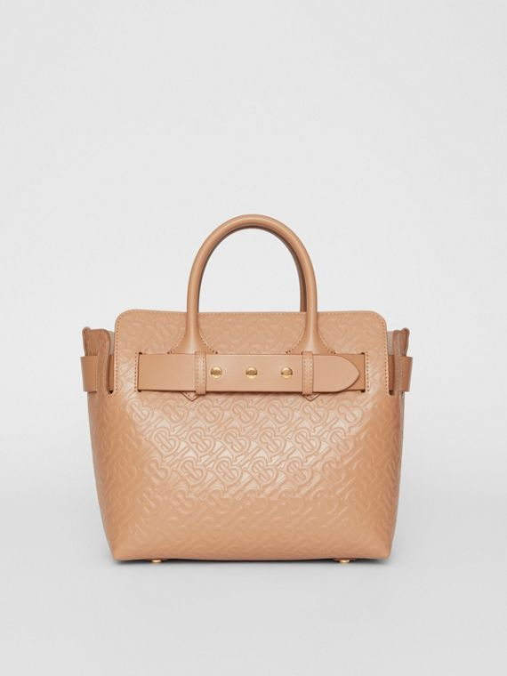 The Small Monogram Leather Triple Stud Belt Bag in Light Camel