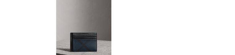 London Check Money Clip Card Case in Navy/black - Men | Burberry - cell image 1