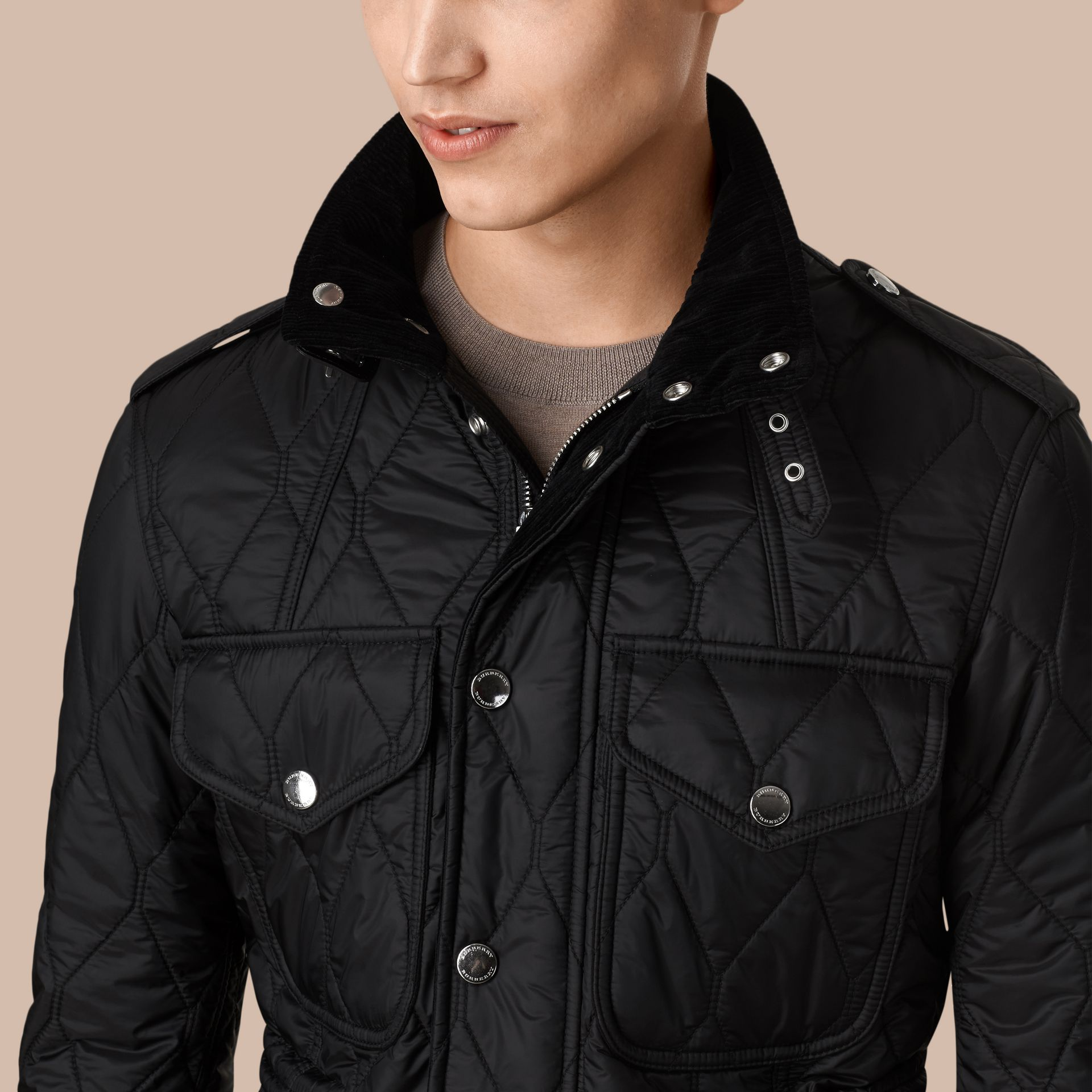 Diamond Quilted Field Jacket in Black - gallery image 2