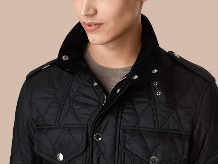 Diamond Quilted Field Jacket in Black - cell image 1