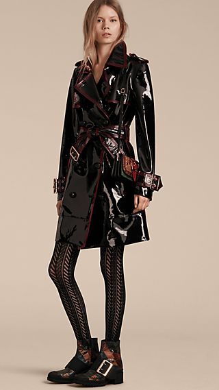 Unlined Patent Leather Trench Coat