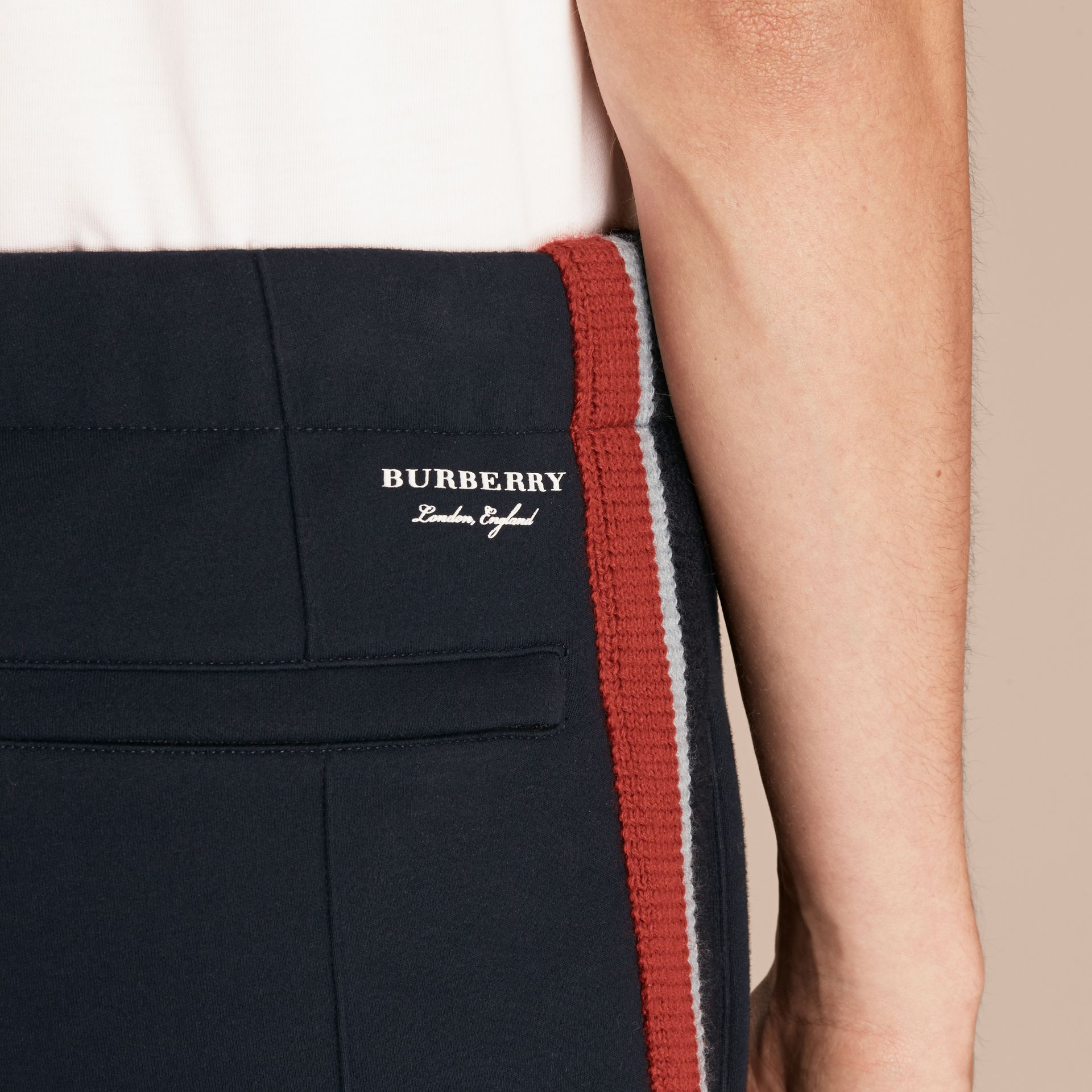 Sports-striped Cotton Blend Sweatpants in Navy - Men | Burberry - gallery image 5
