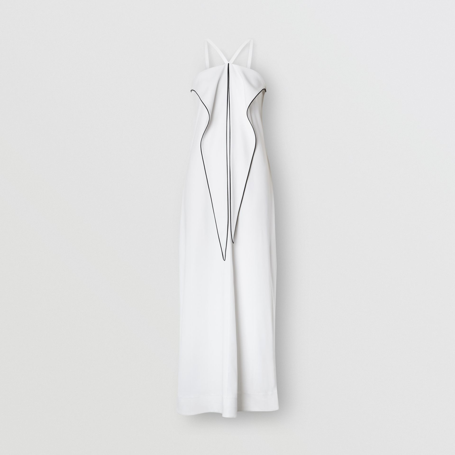Drape Detail Stretch Jersey Gown in White - Women | Burberry United Kingdom - gallery image 3