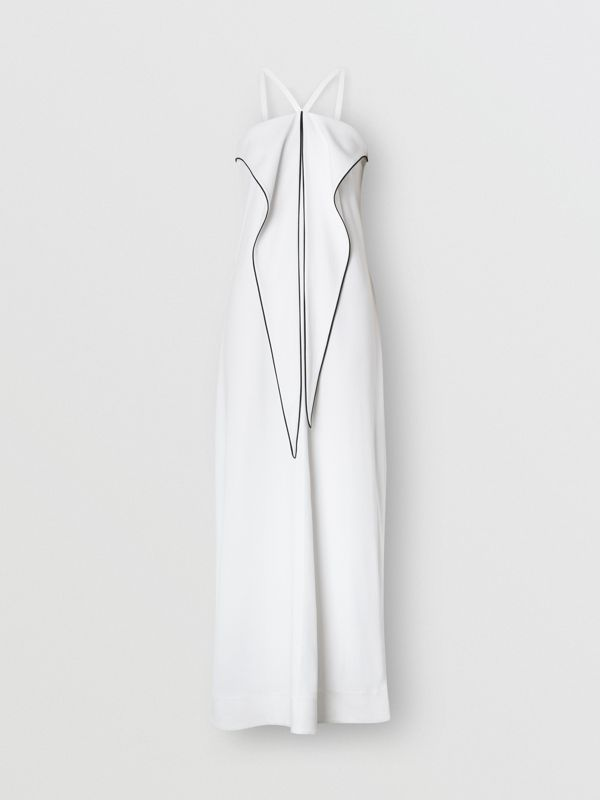 Drape Detail Stretch Jersey Gown in White - Women | Burberry - cell image 3