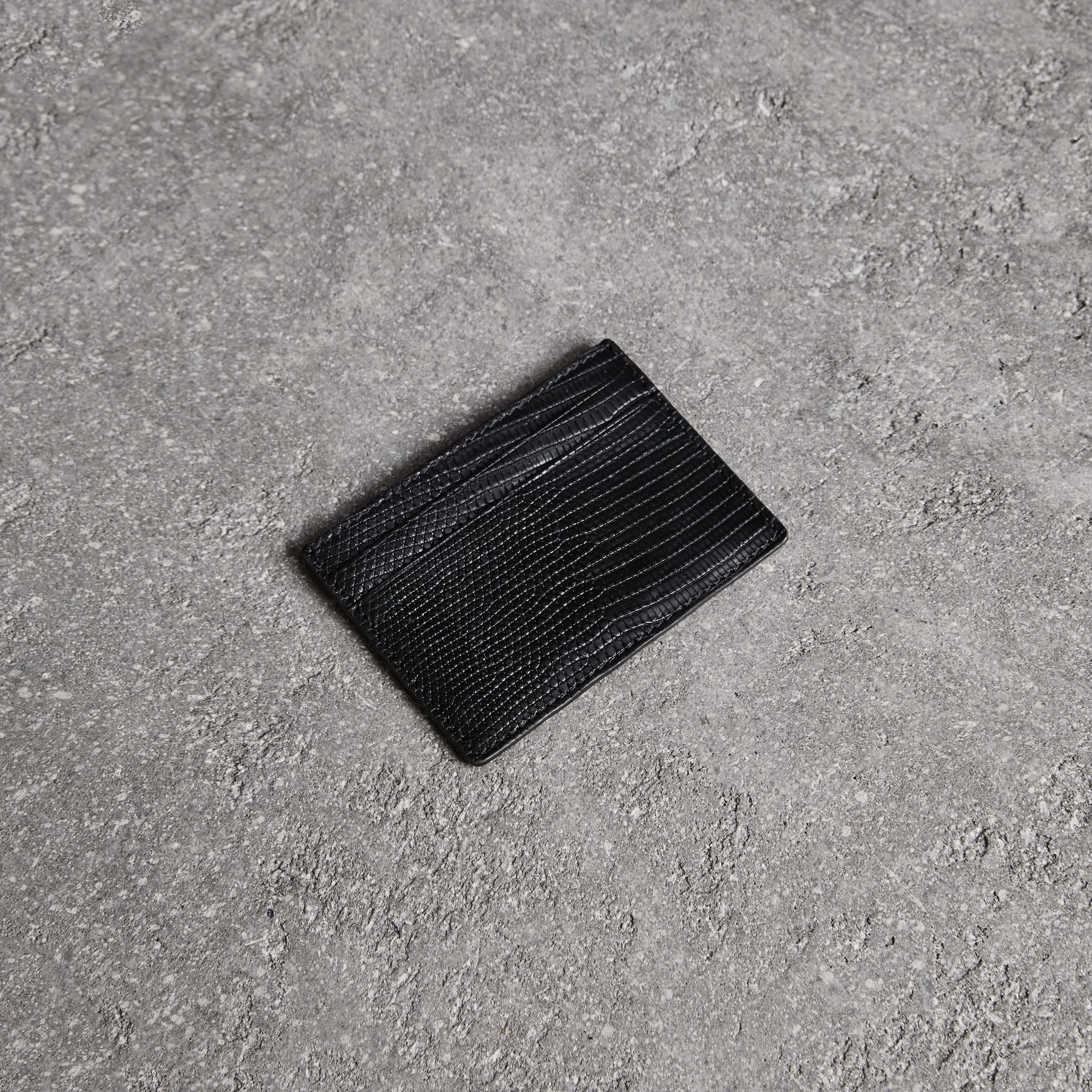 Lizard Card Case in Black | Burberry - gallery image 0