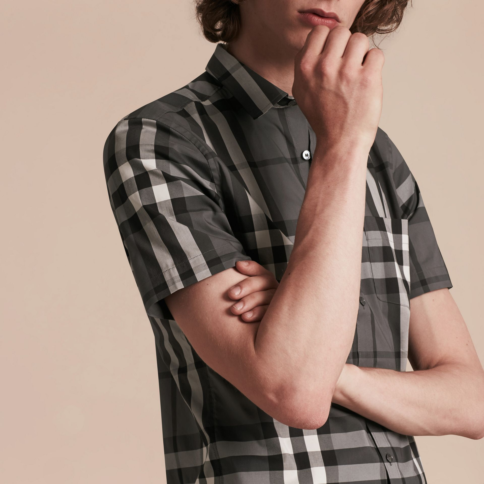 Short-sleeved Check Stretch Cotton Shirt in Charcoal - gallery image 5