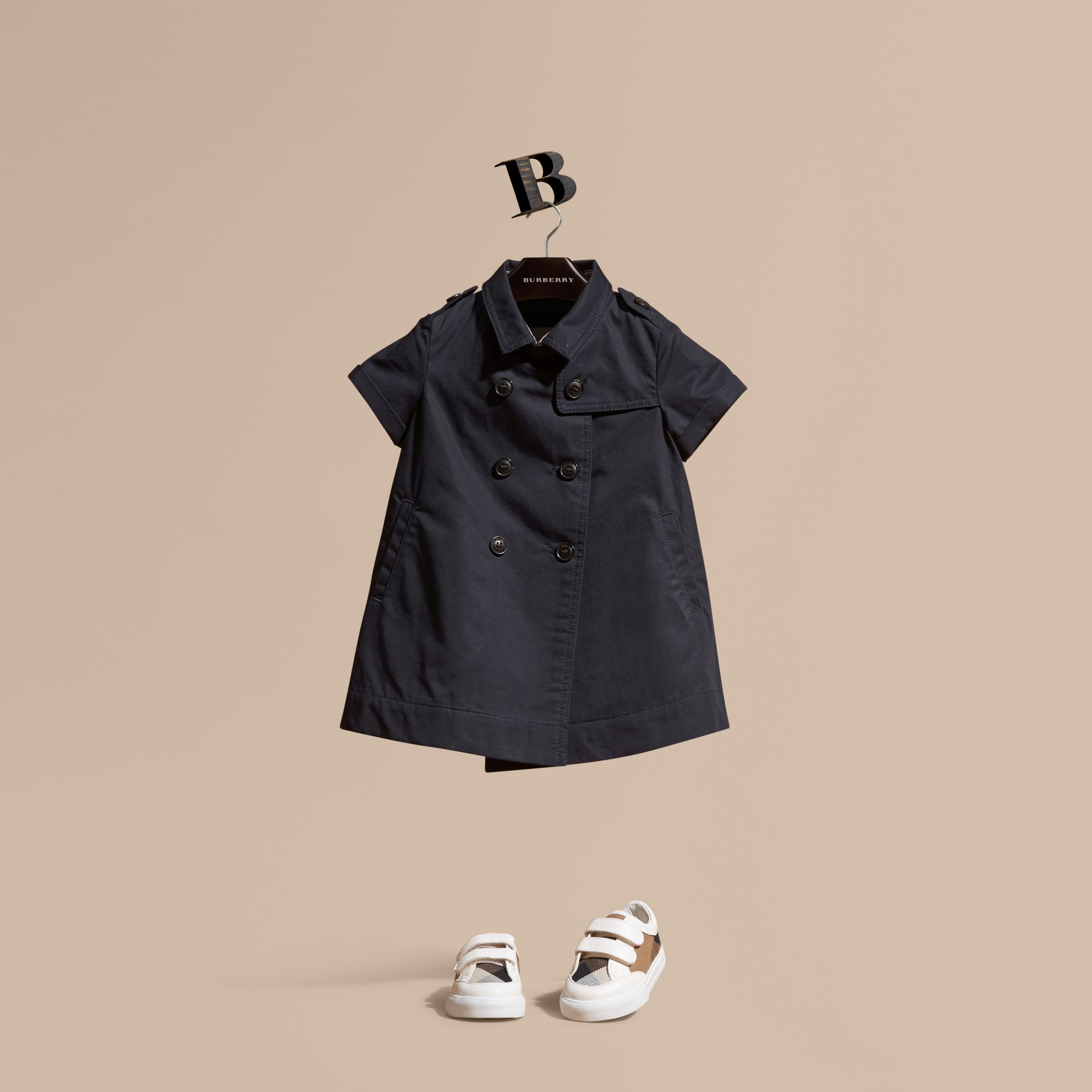 Navy Cotton Trench Dress Navy - gallery image 1