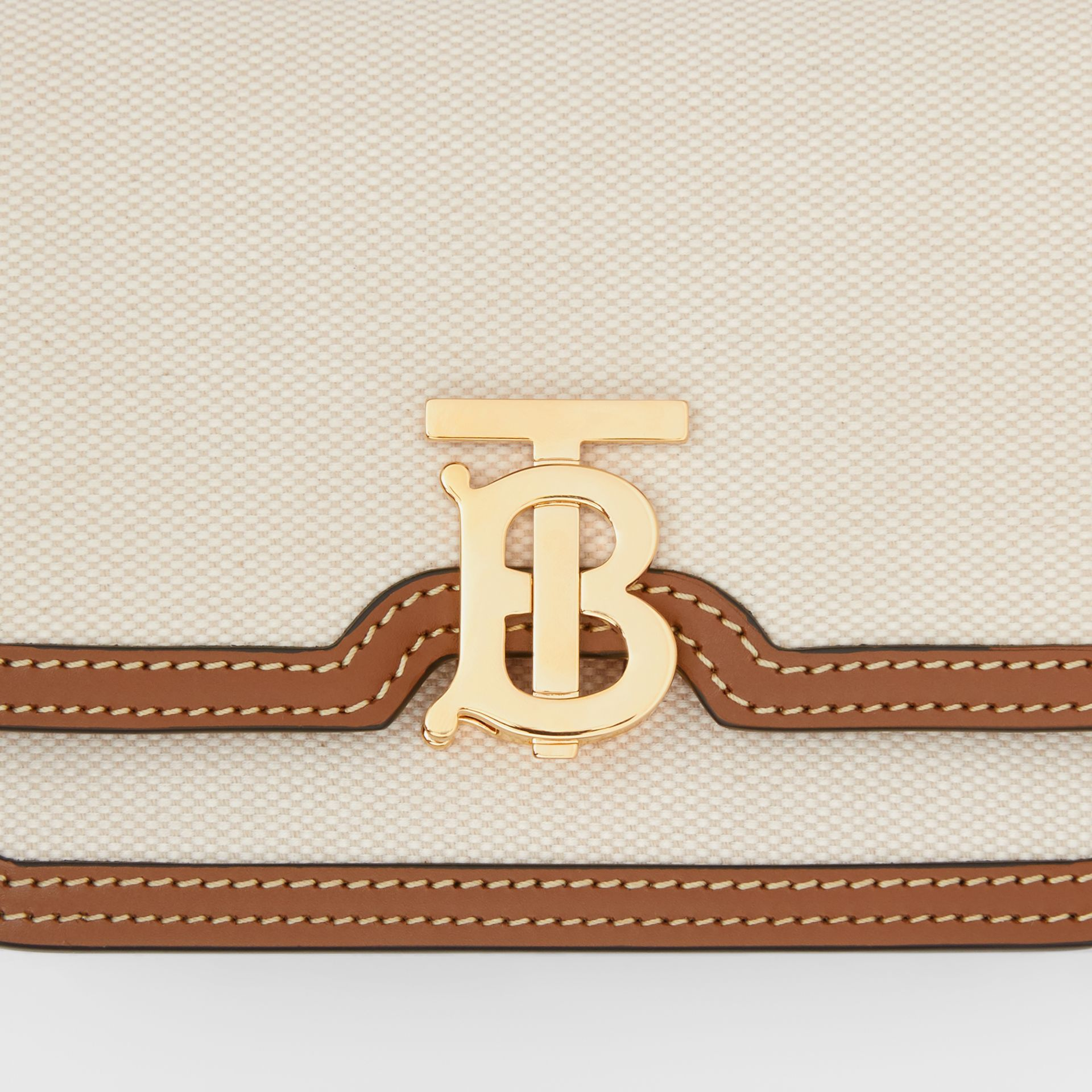 Mini Two-tone Canvas and Leather TB Bag in Natural/malt Brown - Women | Burberry - gallery image 1