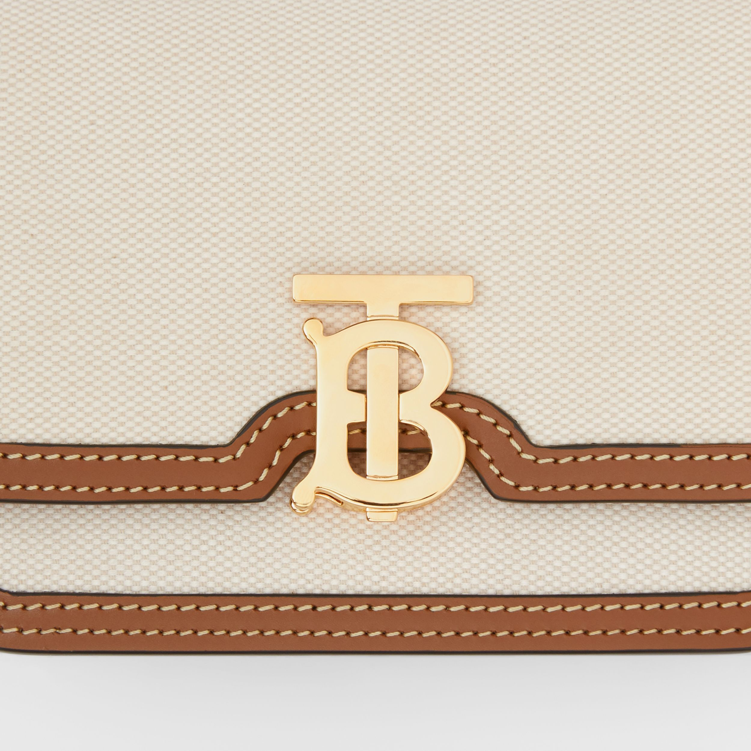 Mini Two-tone Canvas and Leather TB Bag in Natural/malt Brown - Women | Burberry - 2