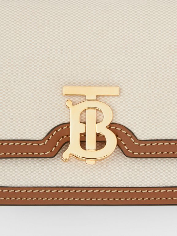 Borsa TB mini bicolore in tela e pelle (Naturale/marrone Malto) - Donna | Burberry - cell image 1