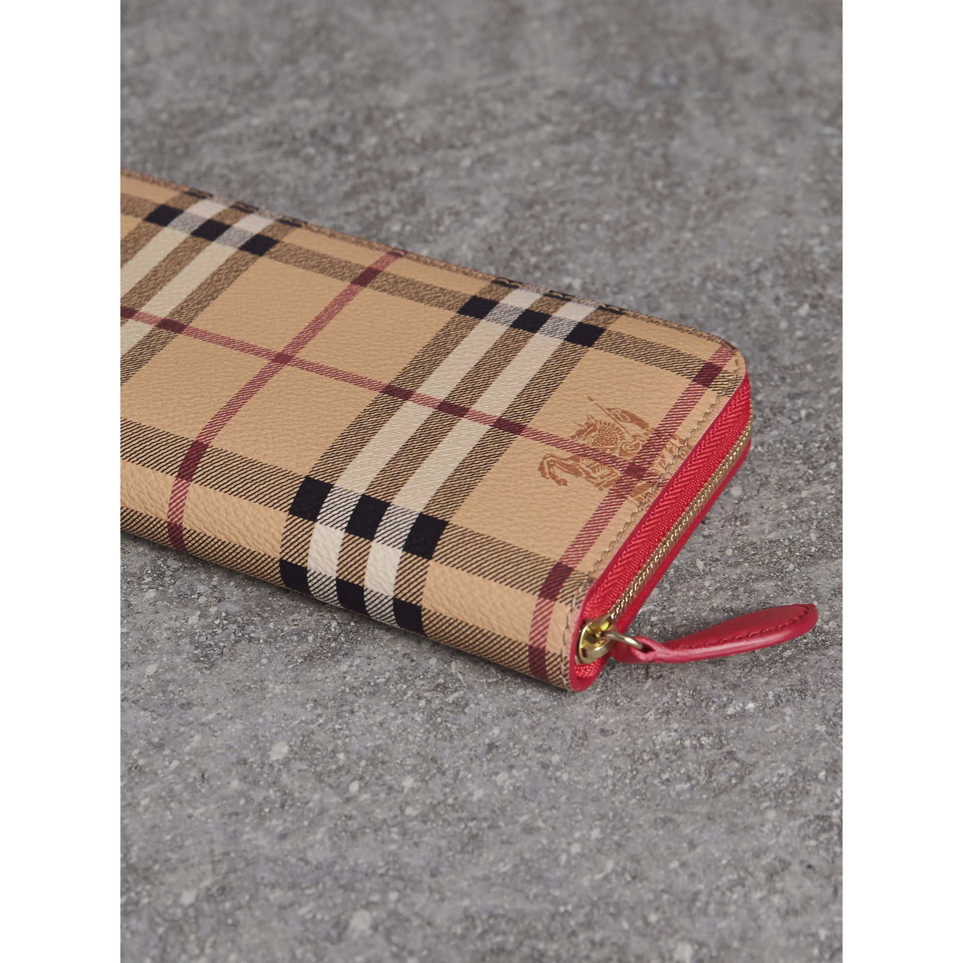 Haymarket Check and Leather Ziparound Wallet - Women | Burberry - gallery image 3