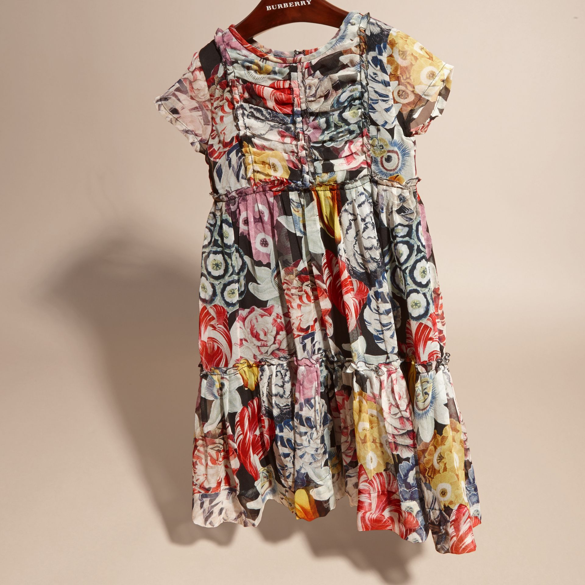 Ruched Detail Painterly Floral Print Silk Dress - gallery image 3