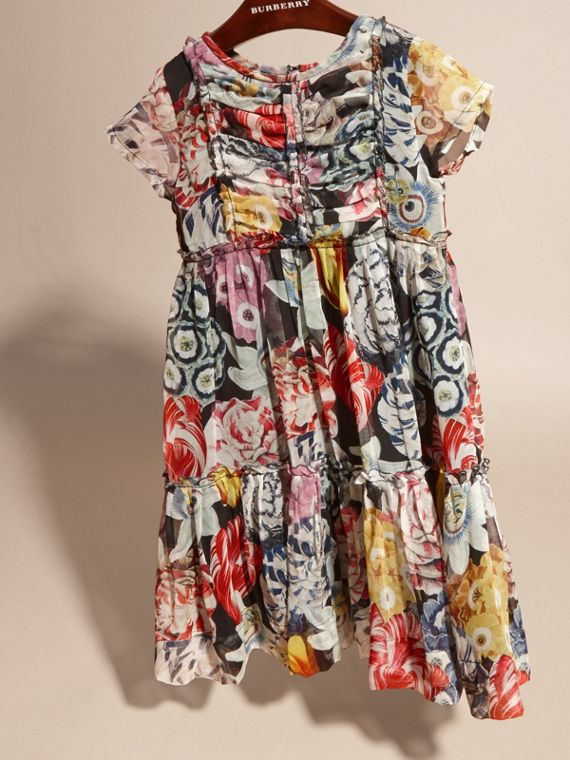 Ruched Detail Painterly Floral Print Silk Dress - cell image 2