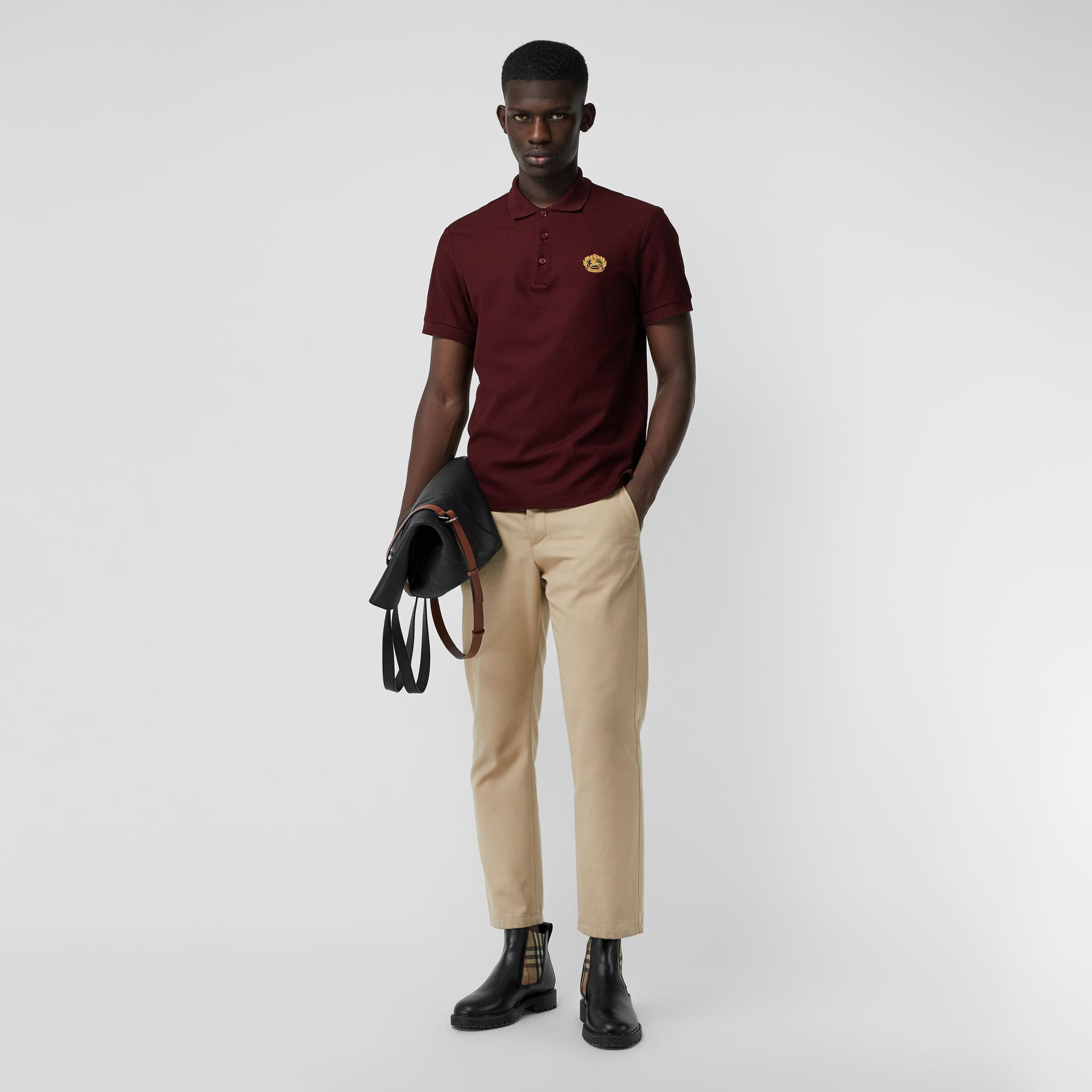 Archive Logo Cotton Piqué Polo Shirt in Burgundy - Men | Burberry Australia - gallery image 0