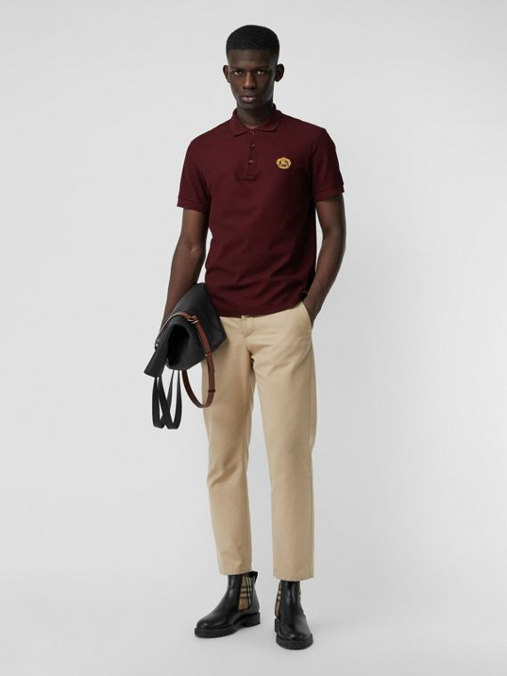 Archive Logo Cotton Piqué Polo Shirt in Burgundy