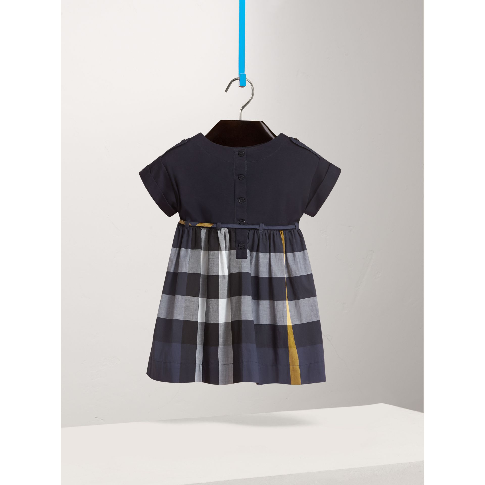 Check Cotton Dress in Pale Navy - Girl | Burberry - gallery image 3