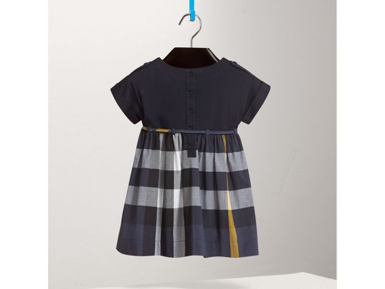 Cap Sleeve Check Cotton Dress in Pale Navy - Girl | Burberry - cell image 2