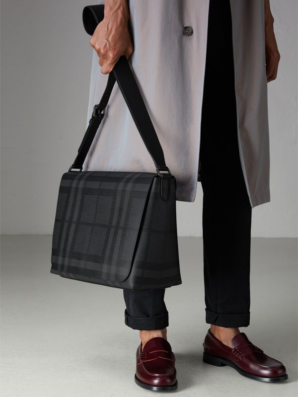 Large London Check Messenger Bag in Charcoal/black - Men | Burberry - cell image 3