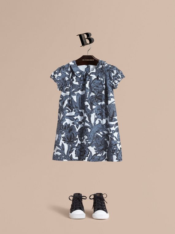 Puff-sleeve Beasts Print Silk Dress - Girl | Burberry Hong Kong