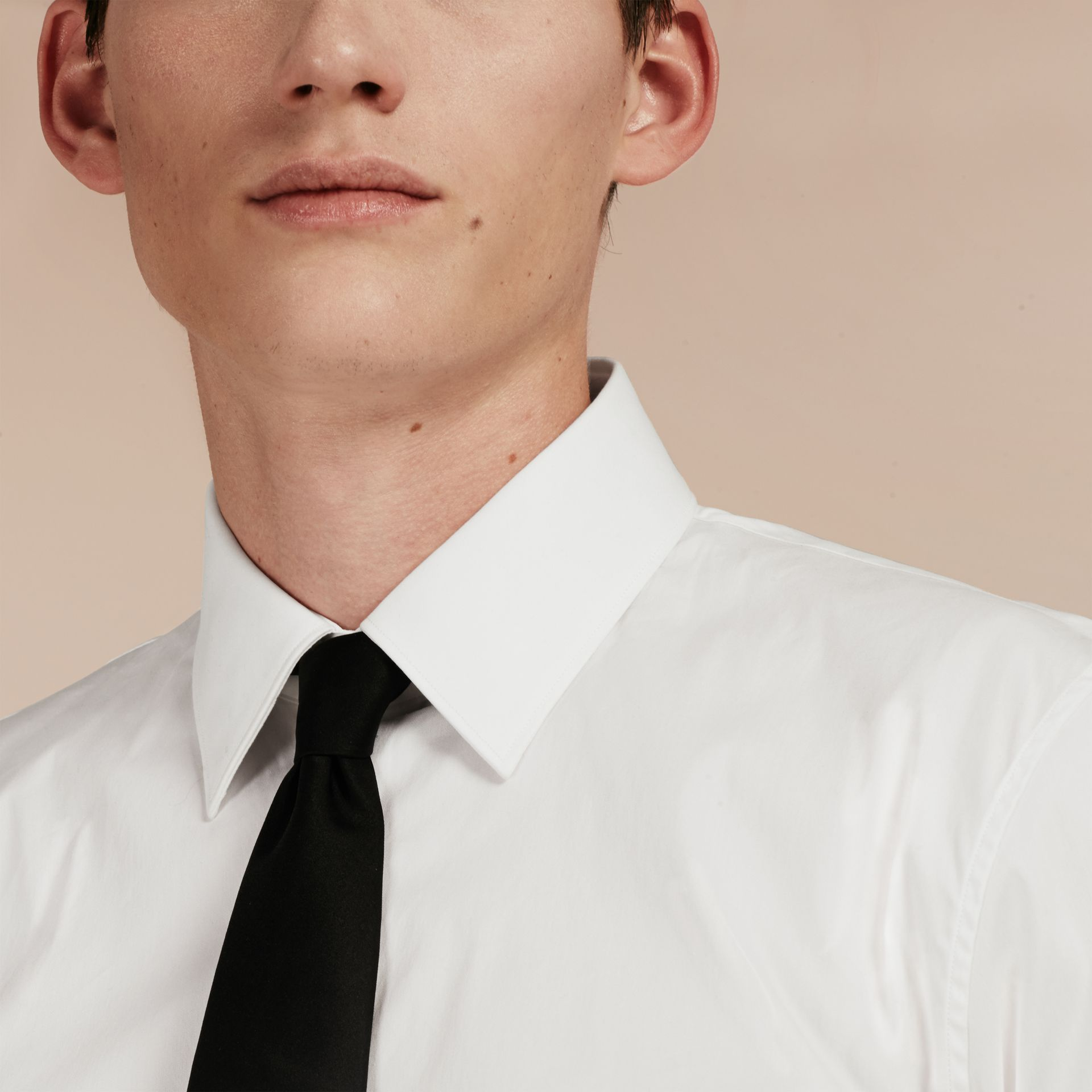 Slim Fit Short-sleeved Stretch Cotton Shirt - Men | Burberry - gallery image 4