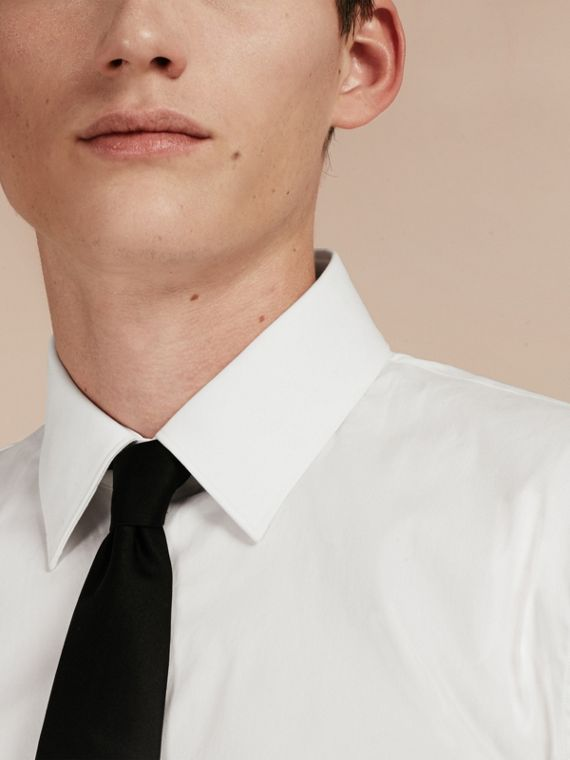 Slim Fit Short-sleeved Stretch Cotton Shirt - Men | Burberry - cell image 3