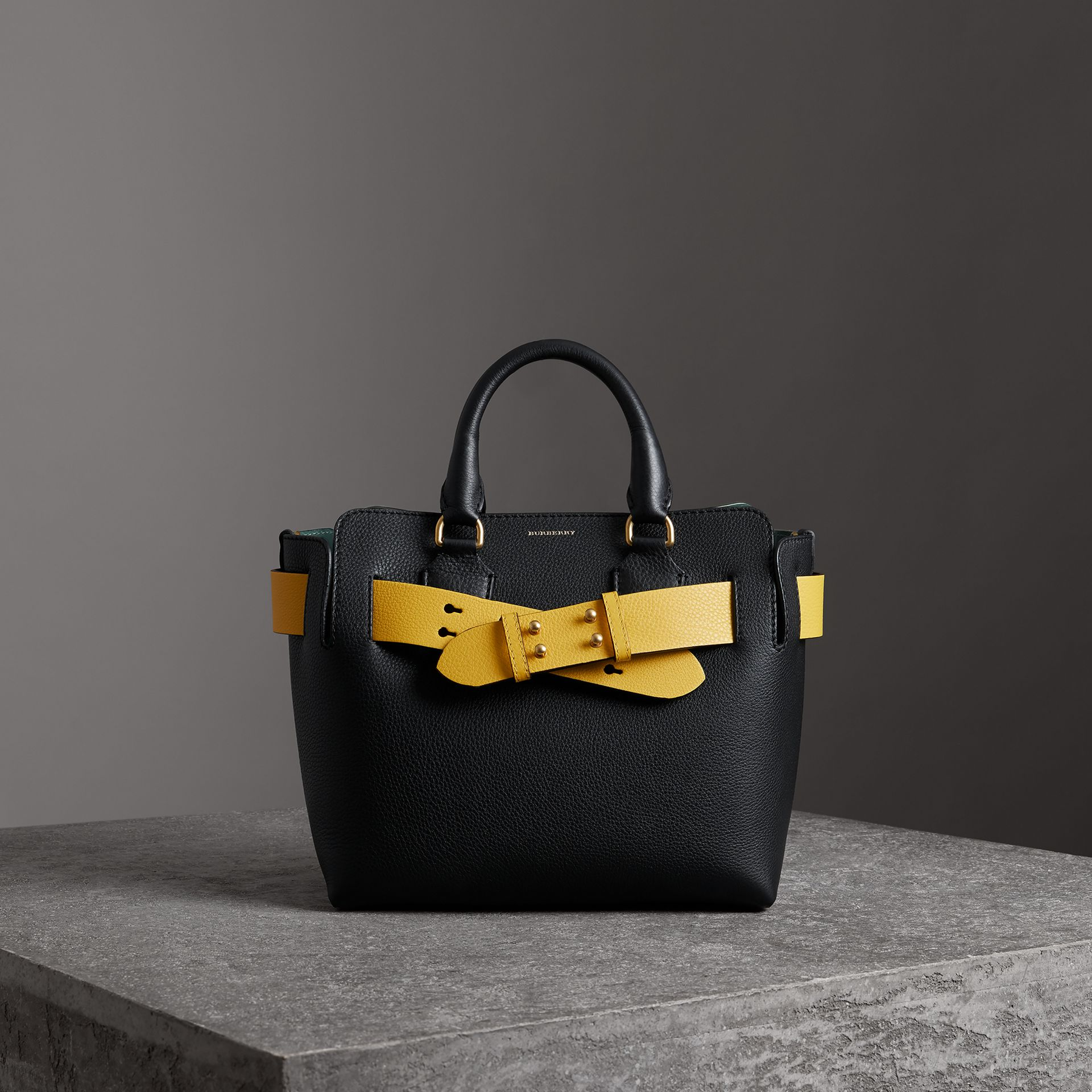 The Small Leather Belt Bag in Black/yellow - Women | Burberry - gallery image 0