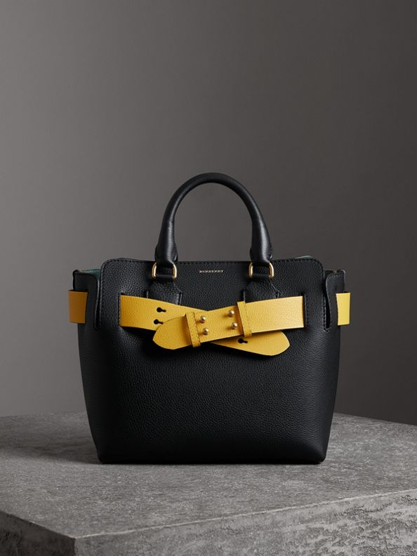 Cумка Belt из кожи, компактный размер (Черный / Желтый)