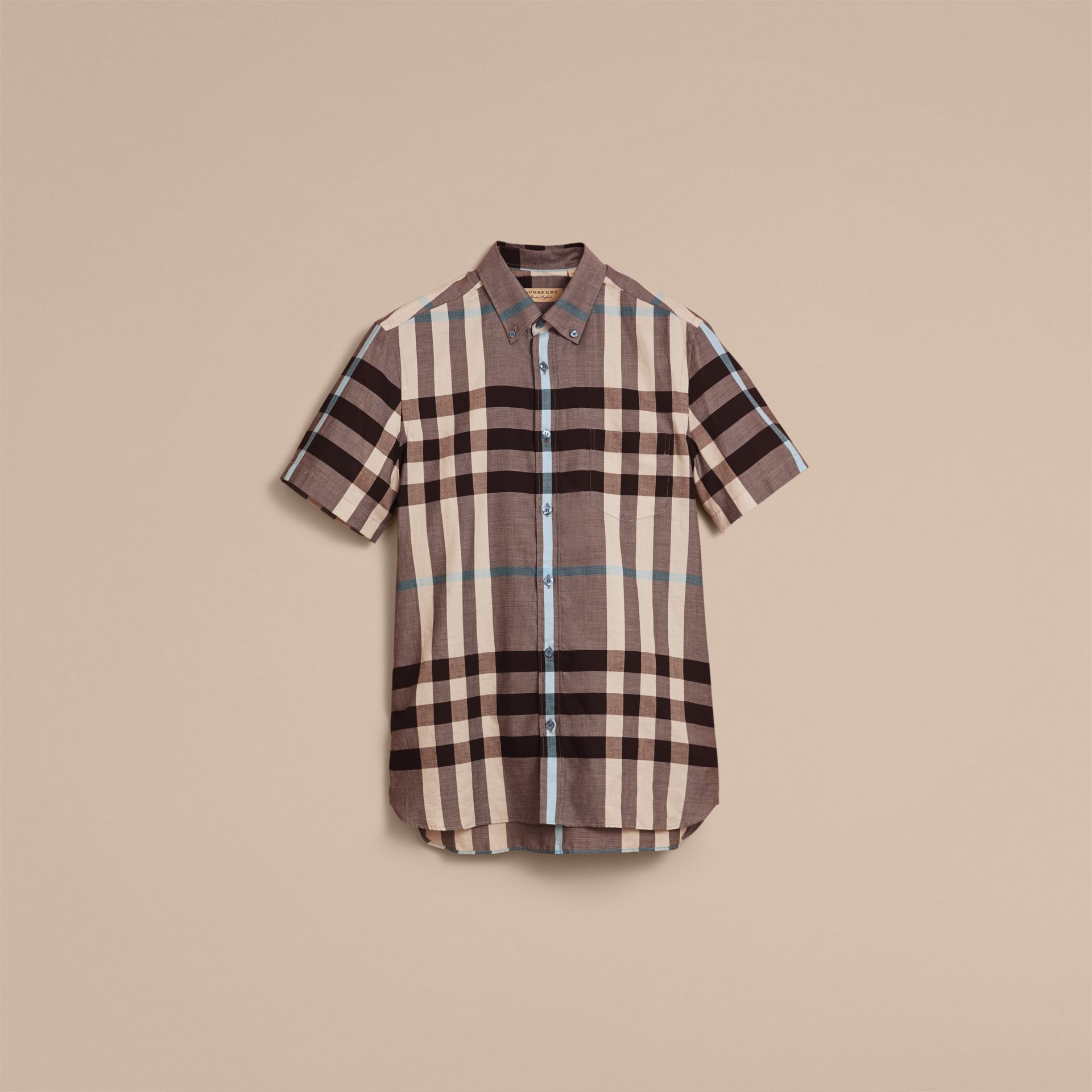 Button-down Collar Short-sleeve Check Cotton Shirt in Mist Grey - Men | Burberry - gallery image 3
