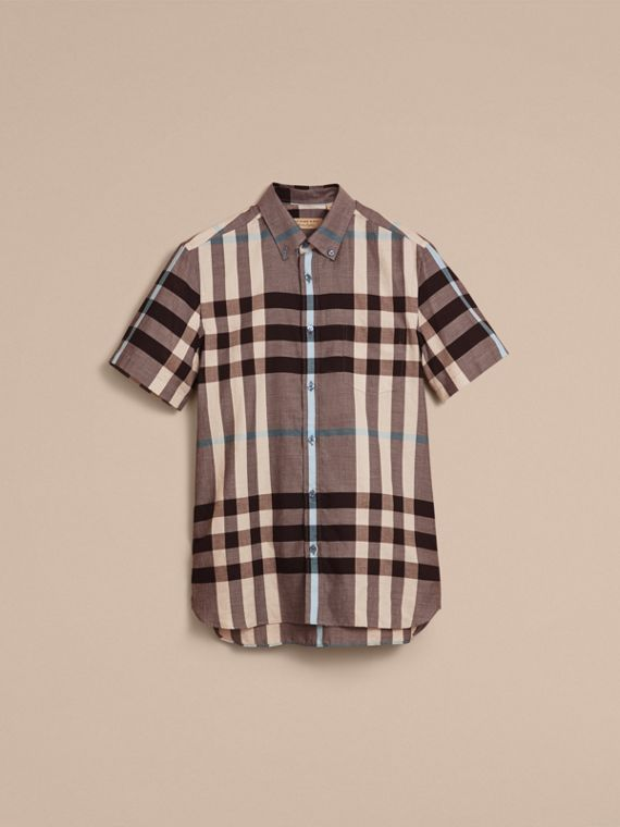 Button-down Collar Short-sleeve Check Cotton Shirt Mist Grey - cell image 3
