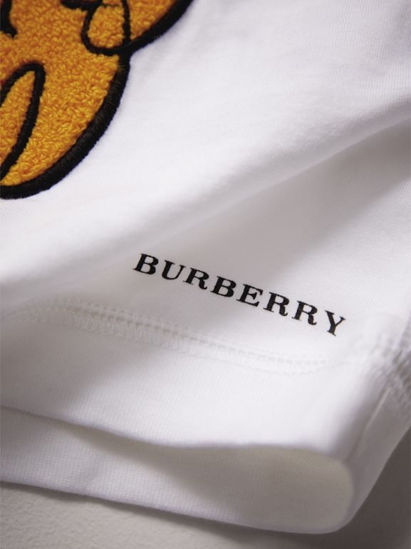 London Icons Embroidered Cotton Top in White | Burberry - cell image 1