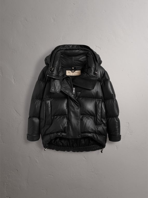 Detachable Hood Lambskin Puffer Jacket in Black - Women | Burberry - cell image 3