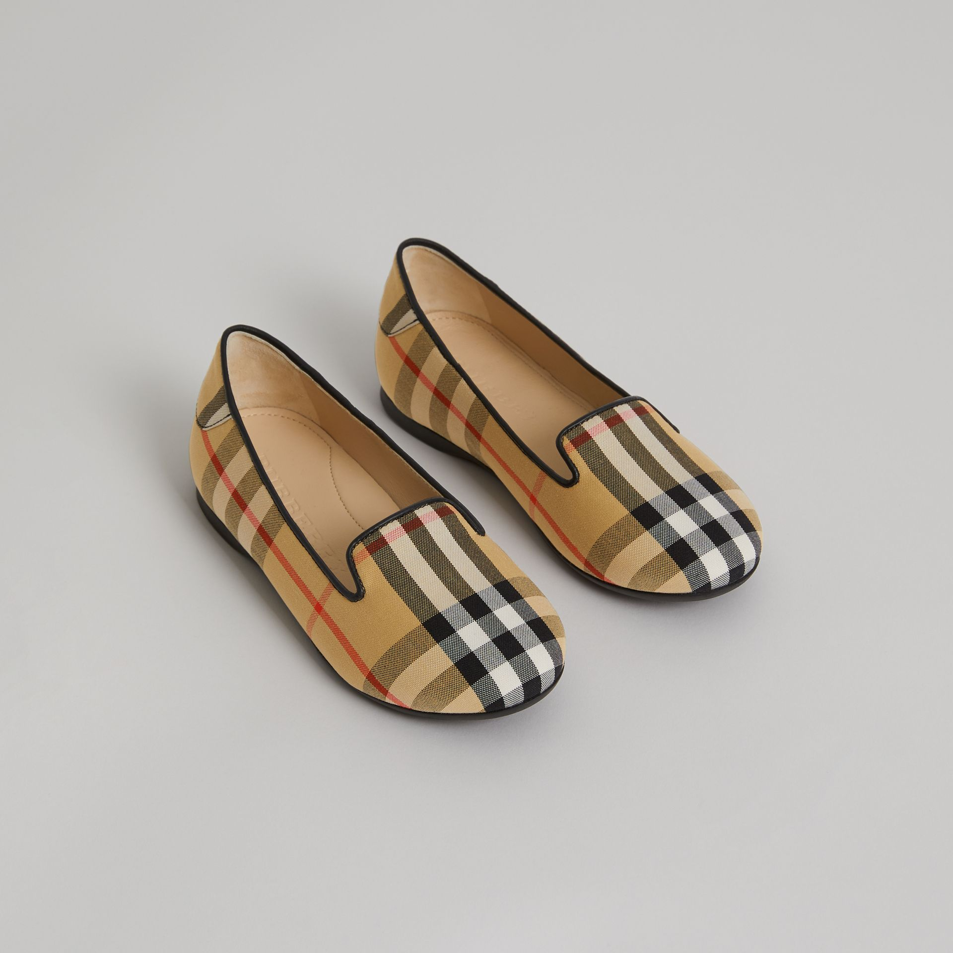 Vintage Check Slippers in Antique Yellow - Girl | Burberry - gallery image 0