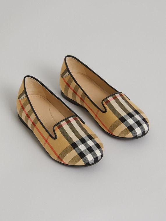 Vintage Check Slippers in Antique Yellow