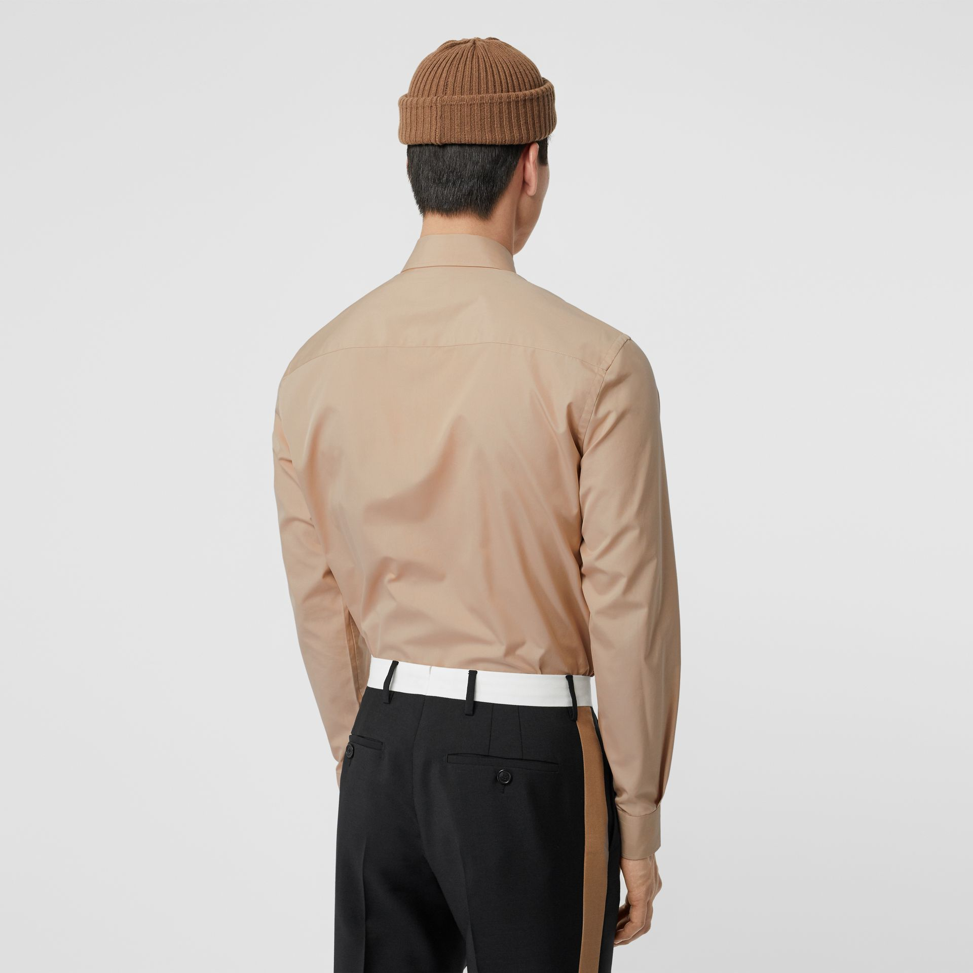 Classic Fit Double Press-stud Cotton Shirt in Soft Fawn - Men | Burberry - gallery image 2