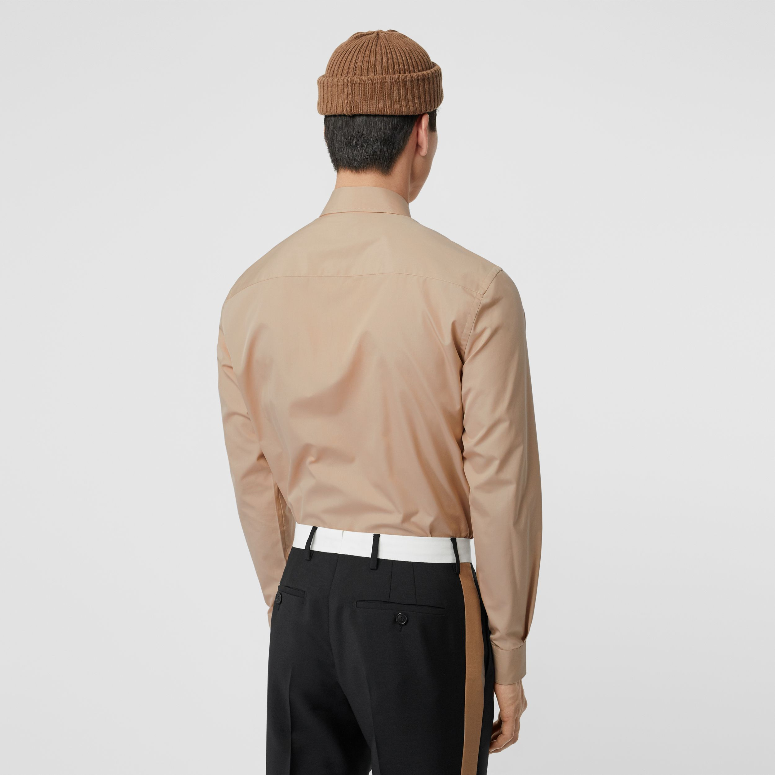 Classic Fit Double Press-stud Cotton Shirt in Soft Fawn - Men | Burberry - 3