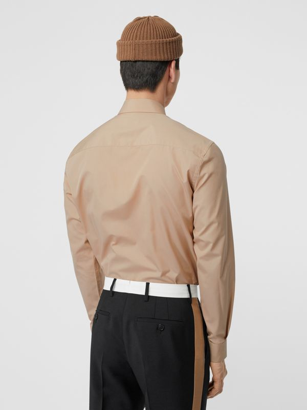 Classic Fit Double Press-stud Cotton Shirt in Soft Fawn - Men | Burberry - cell image 2