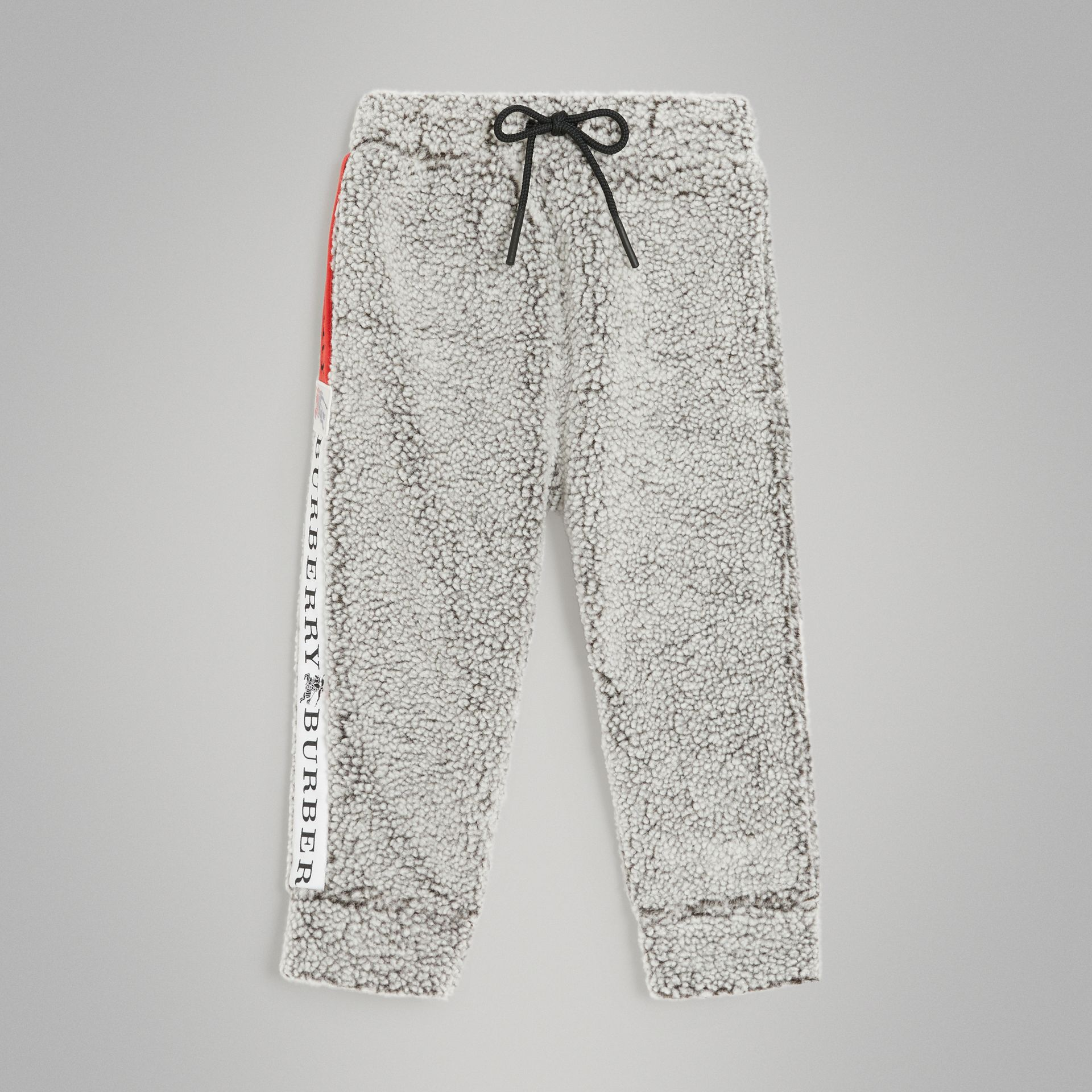 Logo Stripe Faux Shearling Sweatpants in Grey Melange - Boy | Burberry Singapore - gallery image 0