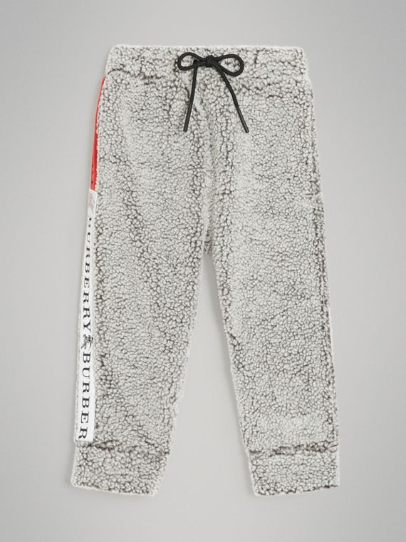 Logo Stripe Faux Shearling Sweatpants in Grey Melange