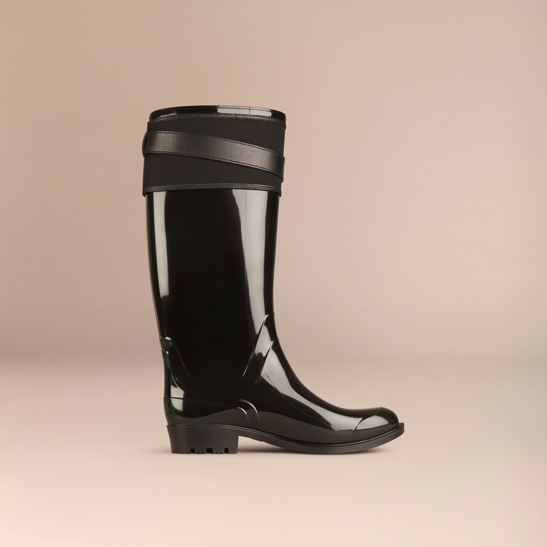 Black Belted Equestrian Rain Boots - gallery image 3