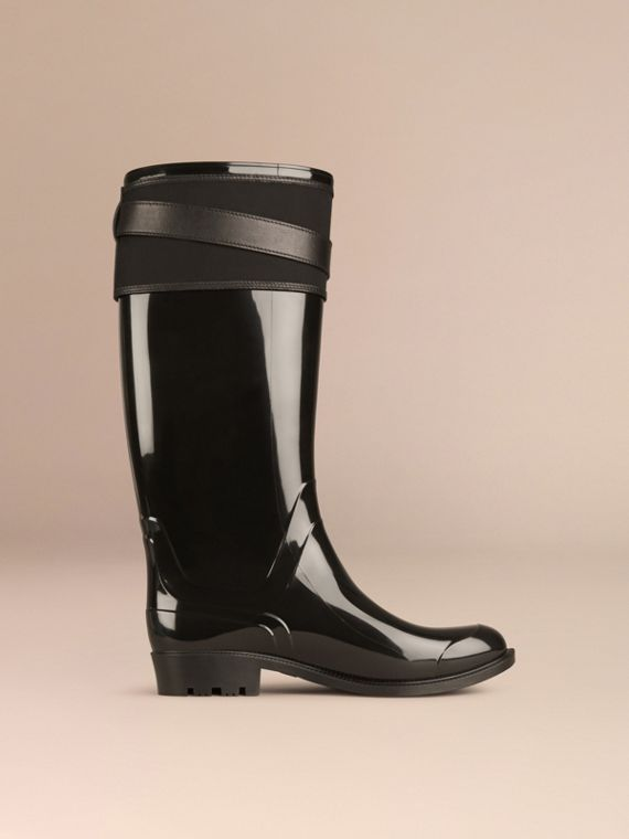 Black Belted Equestrian Rain Boots - cell image 2
