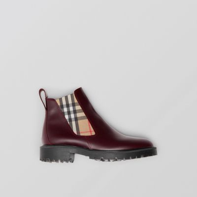 Vintage Check Detail Leather Chelsea Boots in Red