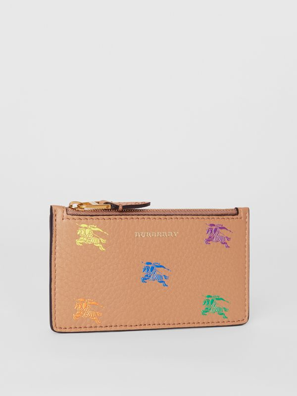 Equestrian Knight Leather Zip Card Case in Light Camel - Women | Burberry - cell image 3
