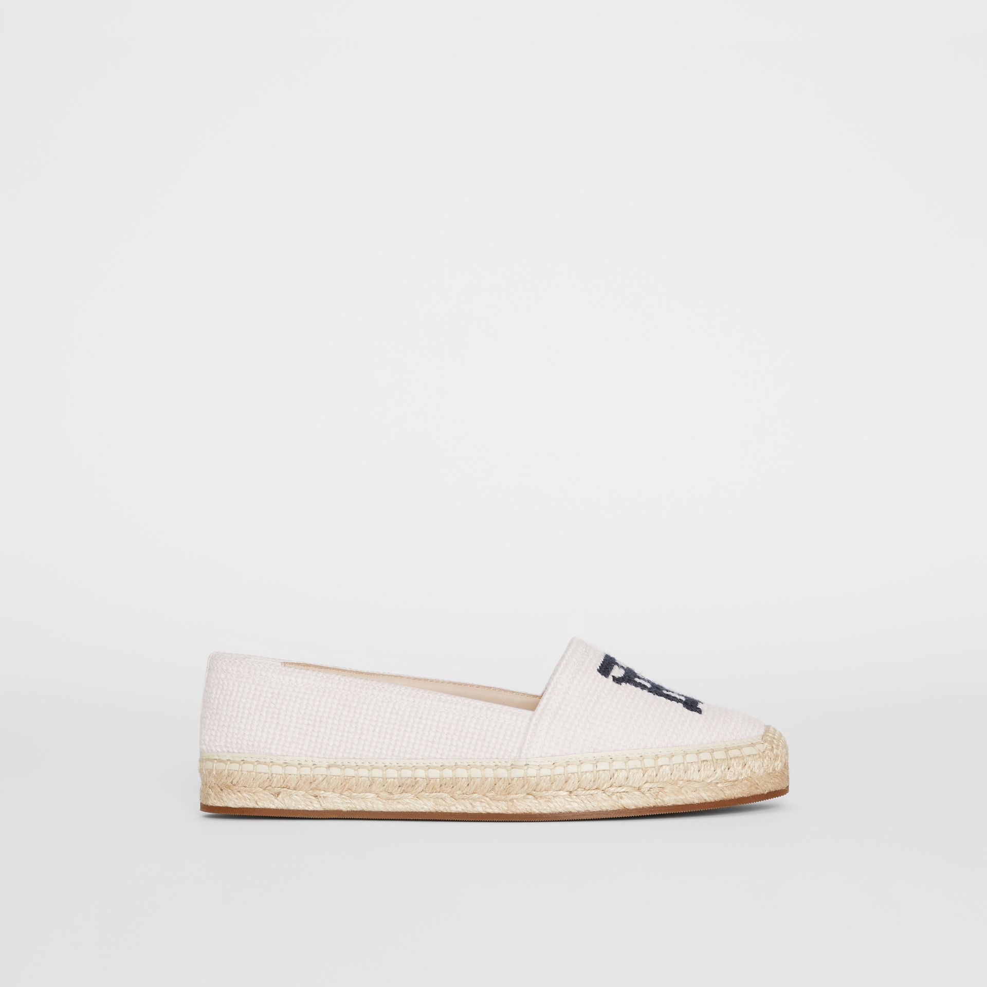 Monogram Motif Cotton and Leather Espadrilles in Ecru/black | Burberry United Kingdom - gallery image 4